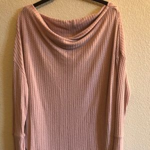 Maurices Waffle Knit Pink Boat Neck Sweater L